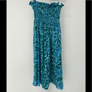 BLUE ISLAND BLUE GREEN STRAPLESS DRESS SIZE SMALL